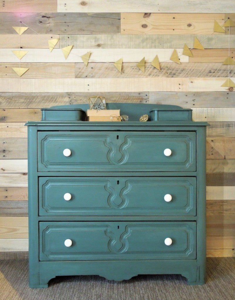 Custom Mixed Milk Paint Color on an Antique Dresser with Glove or Jewelry Boxes, finished with Miss Mustard Seed's Milk Paint Antiquing Wax | Cotton Seed Designs for Carver Junk Company