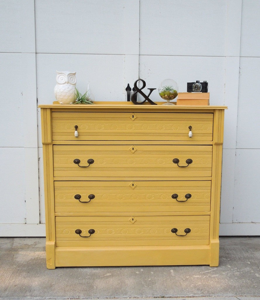 Antique, Primitive Dresser Painted in Miss Mustard Seed's Milk Paint Mustard Seed Yellow by Cotton Seed Designs for Carver Junk Company | Minnesota Refinished Furniture and Handmade Home Decor