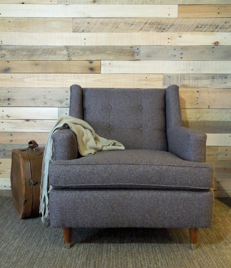 Custom Re-Upholstered Vintage Sofa in a Dark Gray Tweed Style Fabric with Button Tufting | Cotton Seed Design for Carver Junk Company | Minneapolis Upholstered Furniture & Home Decor