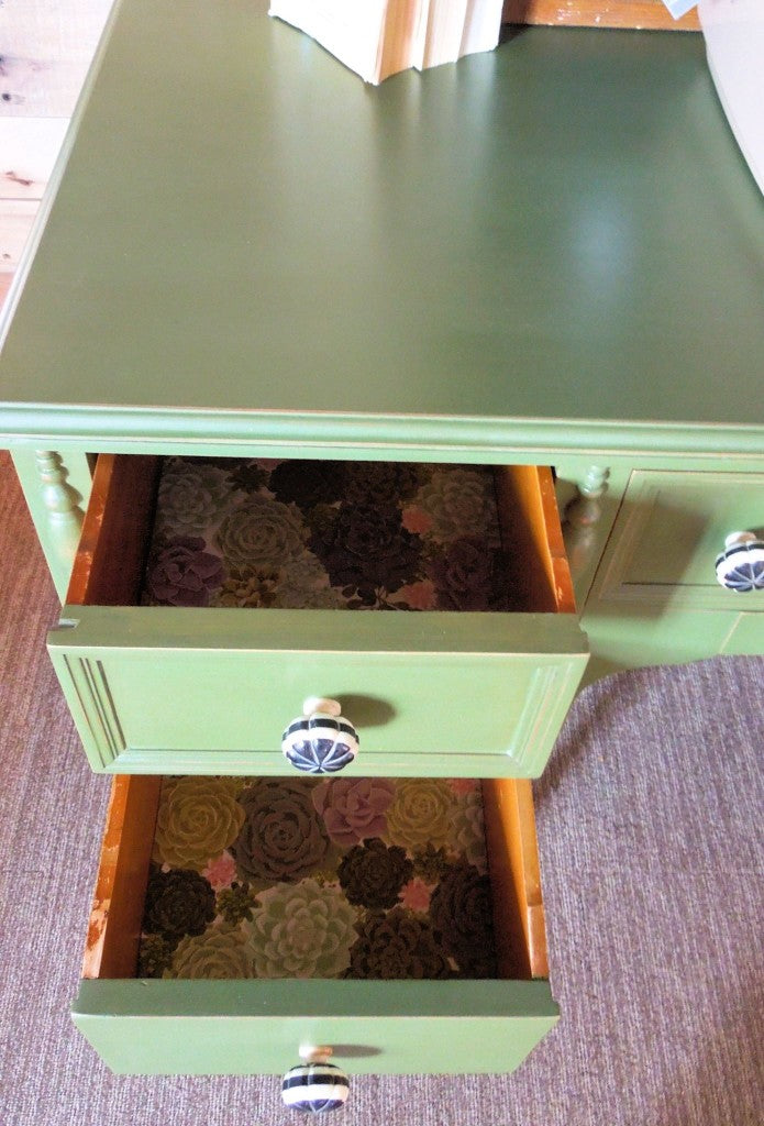 Antique Desk Painted green with Miss Mustard Seed's Milk Paint in Boxwood by Cotton Seed Designs for Carver Junk Company | Carver, MN and Minneapolis, MN | Locally handpainted furniture