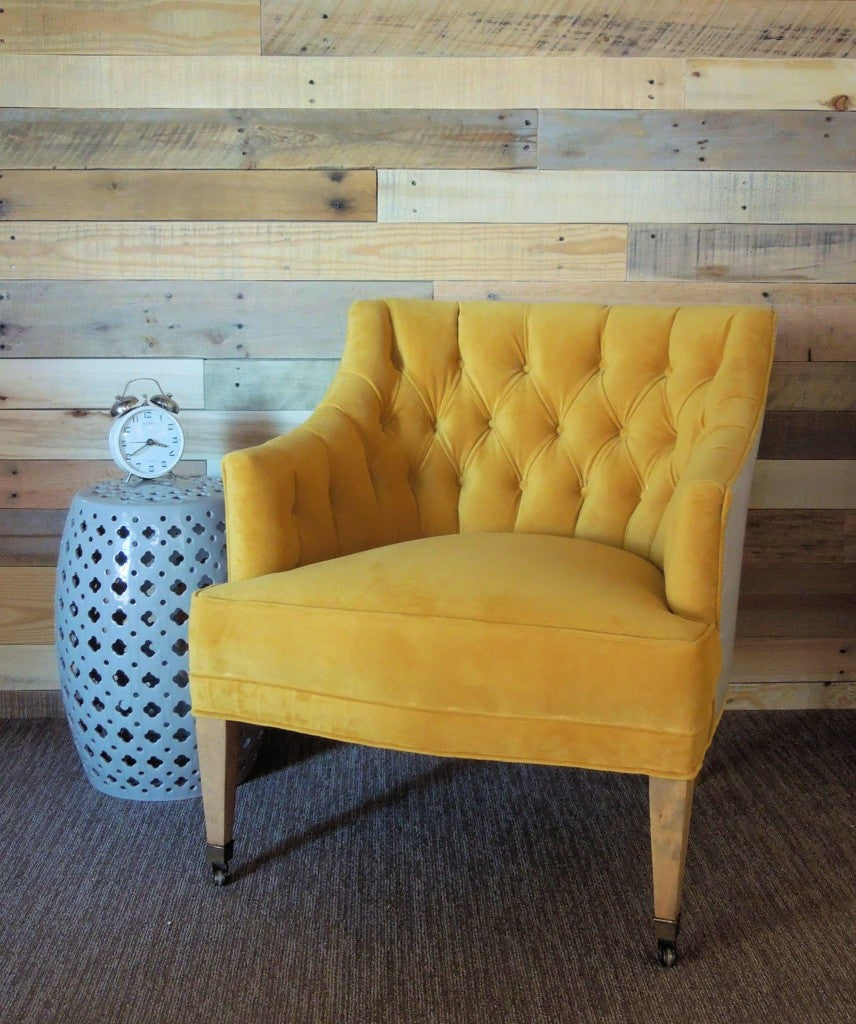 Custom Re-Upholstered Vintage Chair in Mustard Yellow with a graphic gray and white fabric on the outside | Cotton Seed Designs at Carver Junk Company