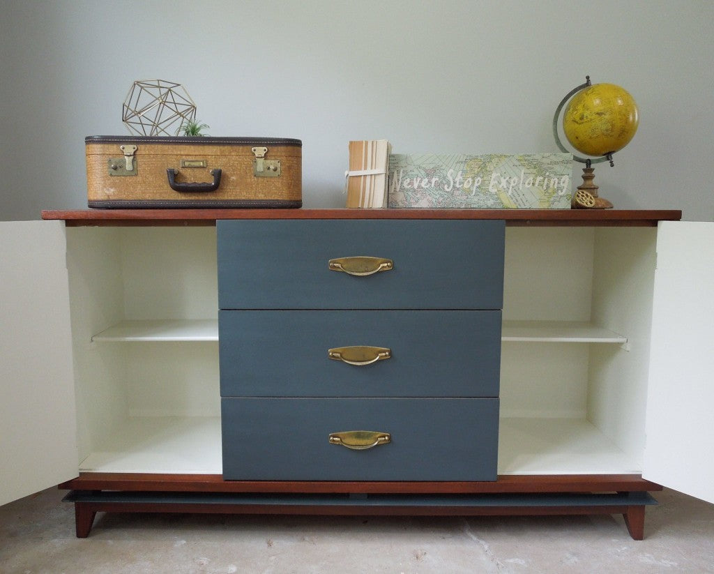 Mid Century Buffet with Chevron Wood Veneer and Painted with General Finishes Chalk Style Paint in Slate Gray | Interior Painted with General Finishes Antique White Milk Paint | Cotton Seed Designs for Carver Junk Company | Painted Buffet | MidMod