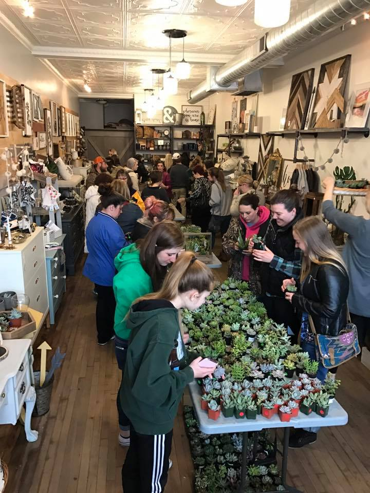 "A ""slow"" day at the Carver Junk Company Succulent Bar. March 2017."