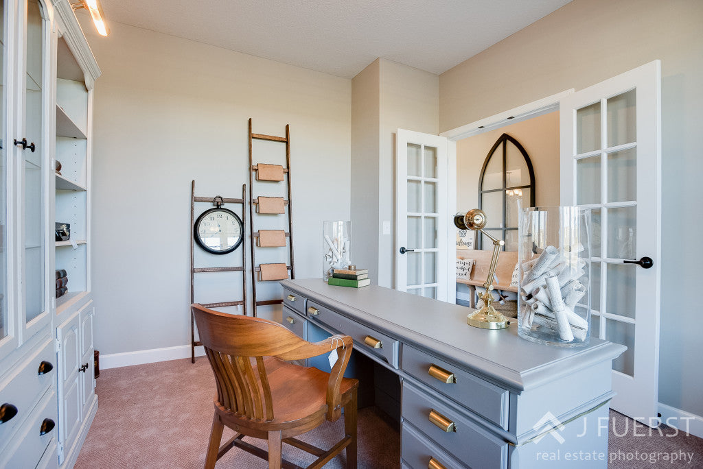 modern office | painted gray desk | blanket ladders repurposed | new construction office | cjc@home | Carver Junk Company's Staged Home Shopping Event | Victoria, MN | Home Staging | Modern Fall Farmhouse | Fixer Upper Style | carverjunkcompany.com