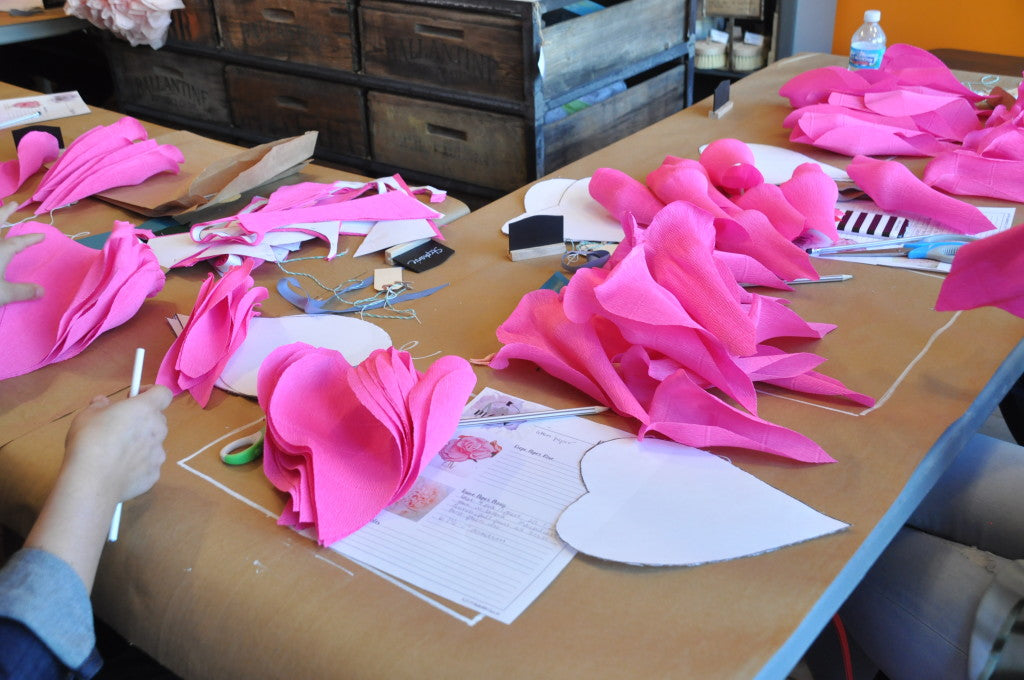 MakeMN at Carver Junk Company | Handmade, Pinterest-inspired DIY Project Workshops in Minneapolis, MN | Crepe Paper Rose| Flower Making 101