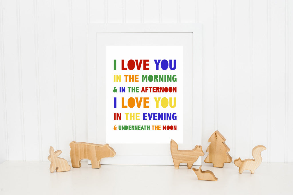 Autumn Definition Art Print | Minneapolis Wall Decor Wall Art | Made in MN | Minnesota Artist |I love you in the morning and in the afternoon, I love you in the evening, and underneath the moon| Nursery Art | Carver Junk Company