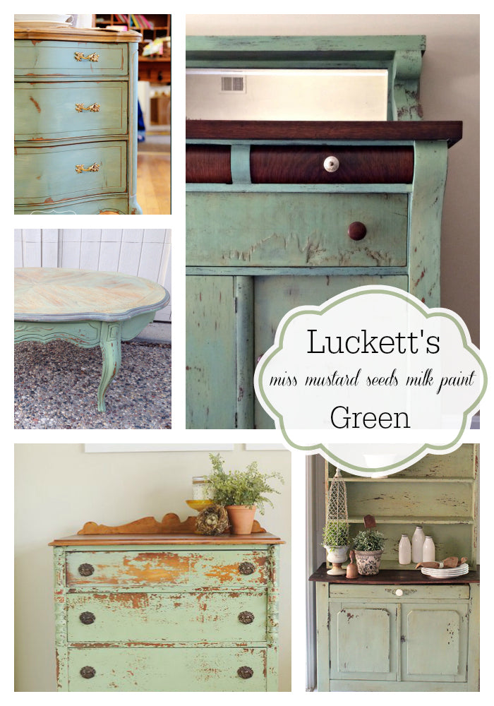 Miss Mustard Seed's Milk Paint | Luckett's Green Color | Furniture Paint Projects | Milk Paint Collage | CarverJunkCompany.com