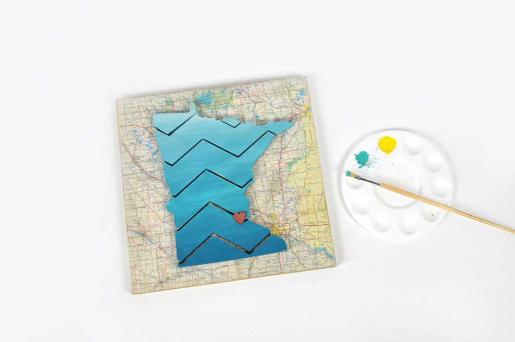 Make It Yourself Minnesota Kit. Includes chevron pieces, backer board, sandpaper and comes in a white gift box! Holiday 2016 Gift Guide. Carver Junk Company