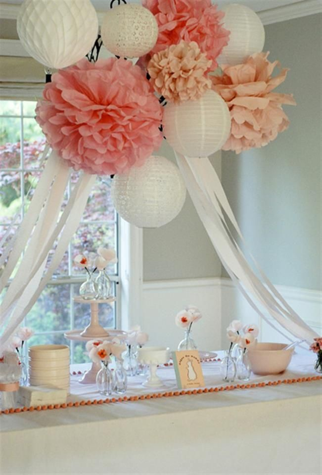 MakeMN Paper Flower Decorating Idea Flower Baby Shower Decor