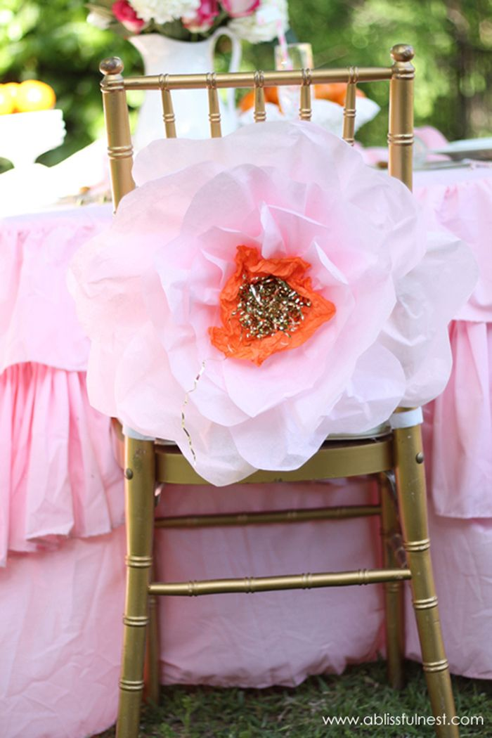 MakeMN Paper Flower Decorating Idea Flower Wedding Chair Decor