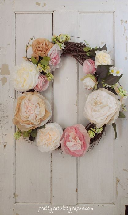 MakeMN Paper Flower Decorating Idea Flower Wreath