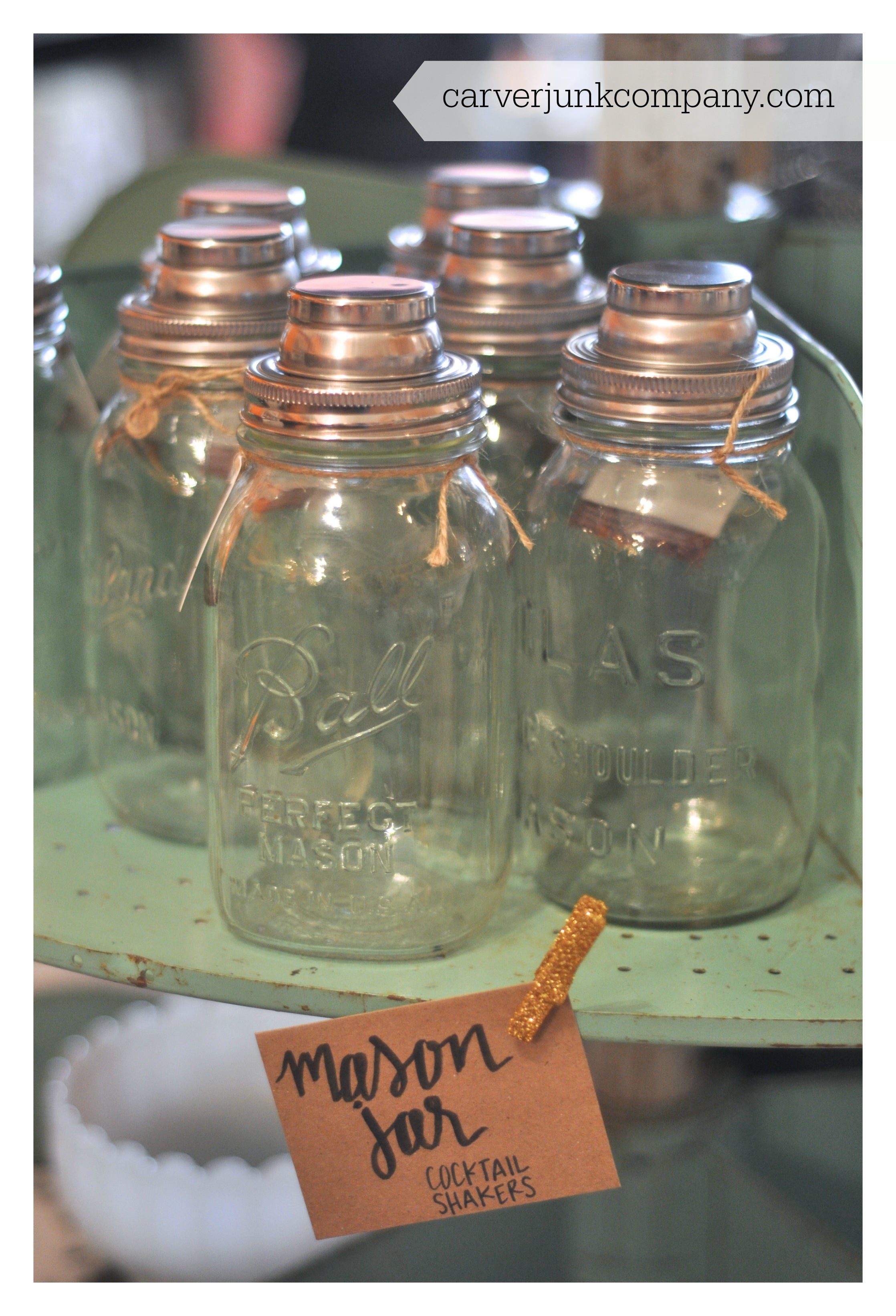 Mason Jar Cocktail Shakers | Antique Jars | Repurposed Drink Dispensers | Carver Junk Company