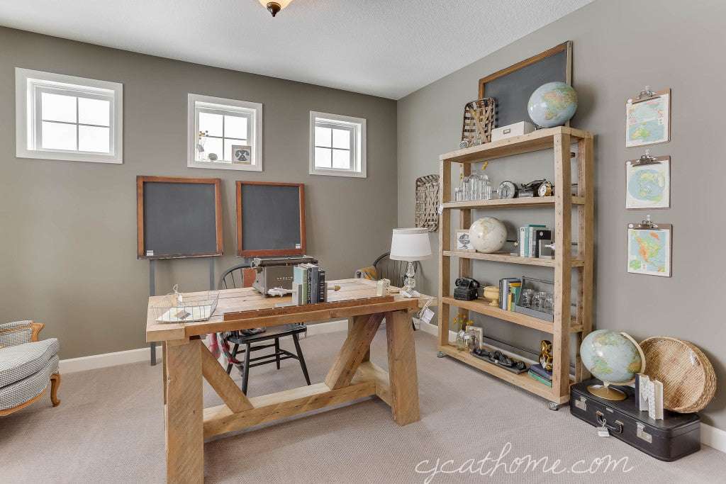 CJC@HOME Study | Office Decor | Reclaimed Wood Desk | Reclaimed Wood Industrial Rustic Bookshelf Bookcase | Vintage Office Decor | Repurposed Window Chalkboard | Carver Junk Company