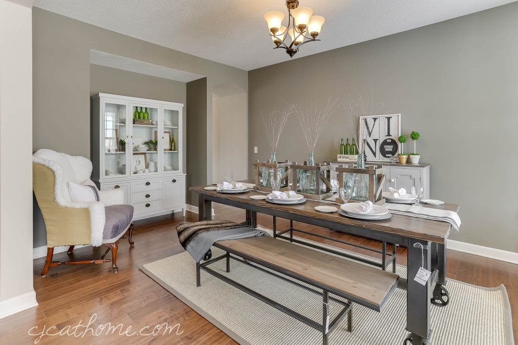 CJC@HOME | Dining Room Decor | Handmade Custom Built Industrial Rustic Dining Table | Metal Base Casters | Industrial Bench | Painted White Mid Century Hutch | Industrial Farmhouse Decor | Reupholstered Faux Fur Chairs | Carver Junk Company