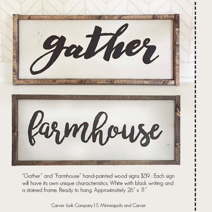 Farmhouse and Gather Handpainted Signs | Carver Junk Company's 2016 Holiday Gift Guide | Handcrafted, Handmade, Locally Created Gifts and Decor | Minnesota Brick and Mortar | Shop Online at carverjunkcompany.com