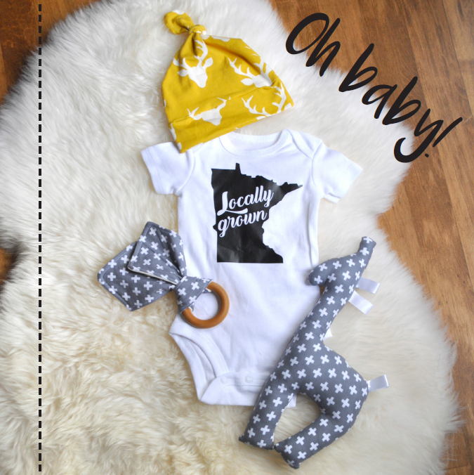Oh Baby! Onesies, Hats, Teethers | Carver Junk Company's 2016 Holiday Gift Guide | Handcrafted, Handmade, Locally Created Gifts and Decor | Minnesota Brick and Mortar | Shop Online at carverjunkcompany.com
