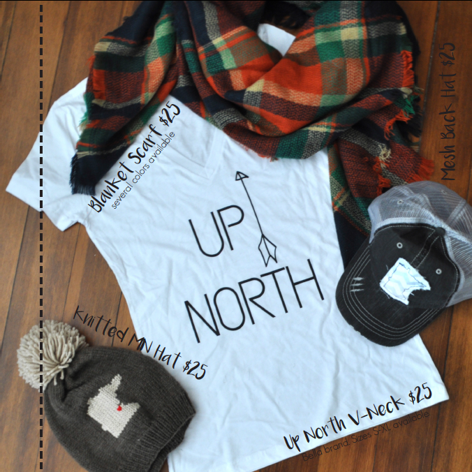 Gifts for Her, Up North Shirts, Blanket Scarf, Hats, Knit Hat | Carver Junk Company's 2016 Holiday Gift Guide | Handcrafted, Handmade, Locally Created Gifts and Decor | Minnesota Brick and Mortar | Shop Online at carverjunkcompany.com