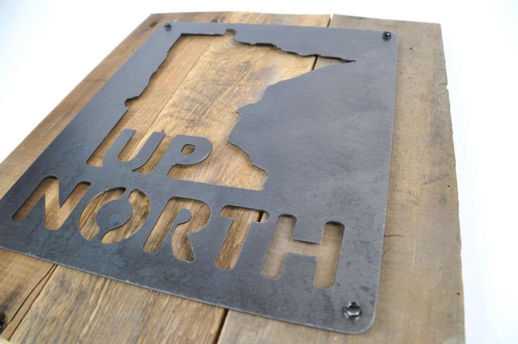 Up North metal cut out sign on reclaimed barnwood. Carver Junk Company 2016 Holiday Gift Guide. Wisconsin also available.