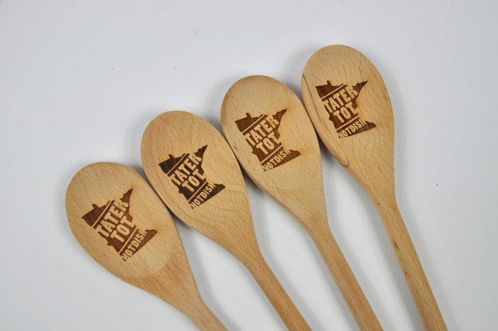 Tater Tot Hotdish wooden spoons. Carver Junk Company Holiday 2016 Gift Guide.