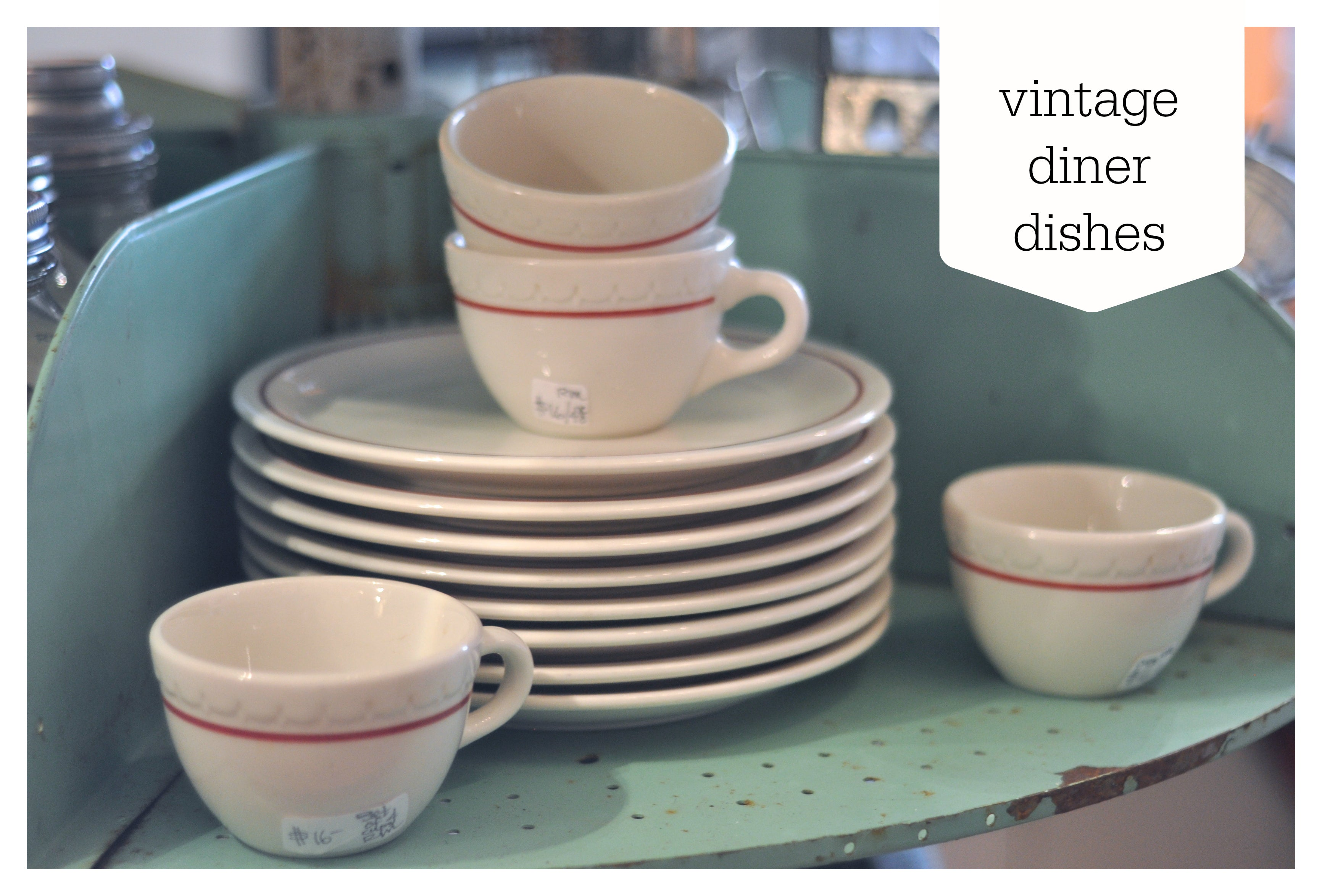 Vintage Diner Style Dishes | Red and White | Diner | Carver Junk Company