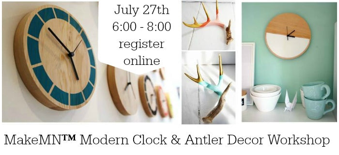 MakeMN Modern Painted DIY Clock & Painted Antler Workshop | Minneapolis, MN Craft Workshop | Carver Junk Company