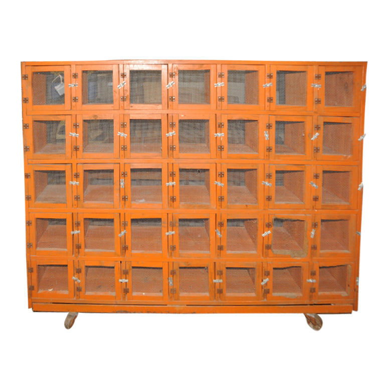 Vintage Orange Pigeon Coop on Wheels | Carver Junk Company | Shoe Cubby | Orange Storage Cupboard | Handmade in WI