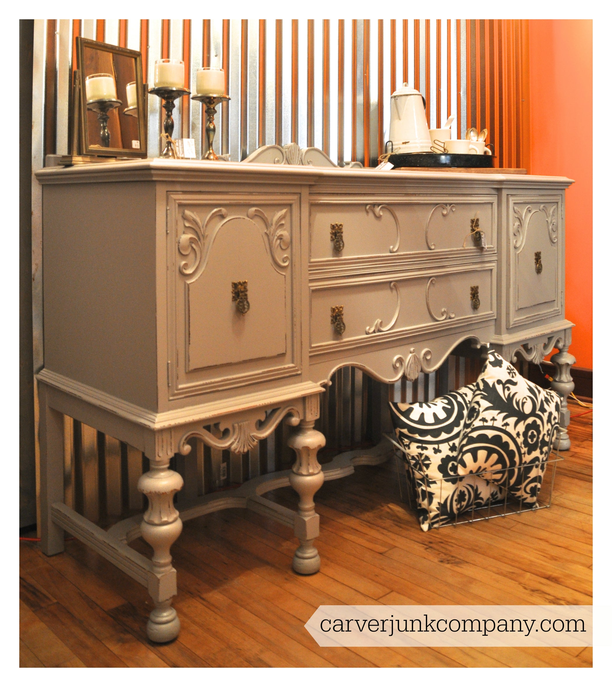 Painted Antique Buffet | Grey Gray | Distressed | $549 | Carver Junk Company