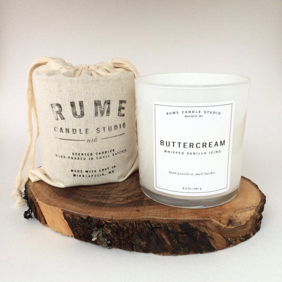 Rume Studios Buttercream Frosting HandPoured Soy candle with wood wick | Available at both Carver Junk Company stores, and online: carverjunkcompany.com | 2016 Holiday Gift Guide | Perfect for teacher gifts, stocking stuffers, in a basket for mom or grandma