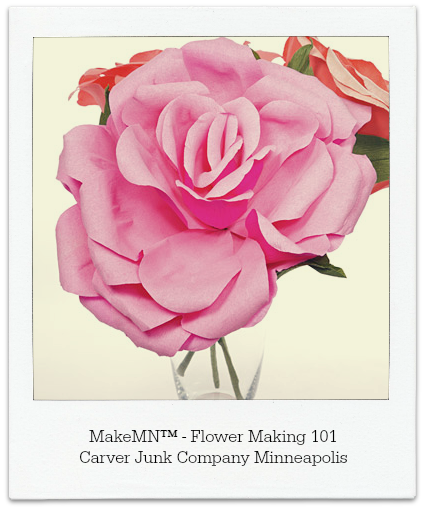 Paper Rose | MakeMN Flower Making 101 | Spring DIY Project | Craft Workshop Minneapolis