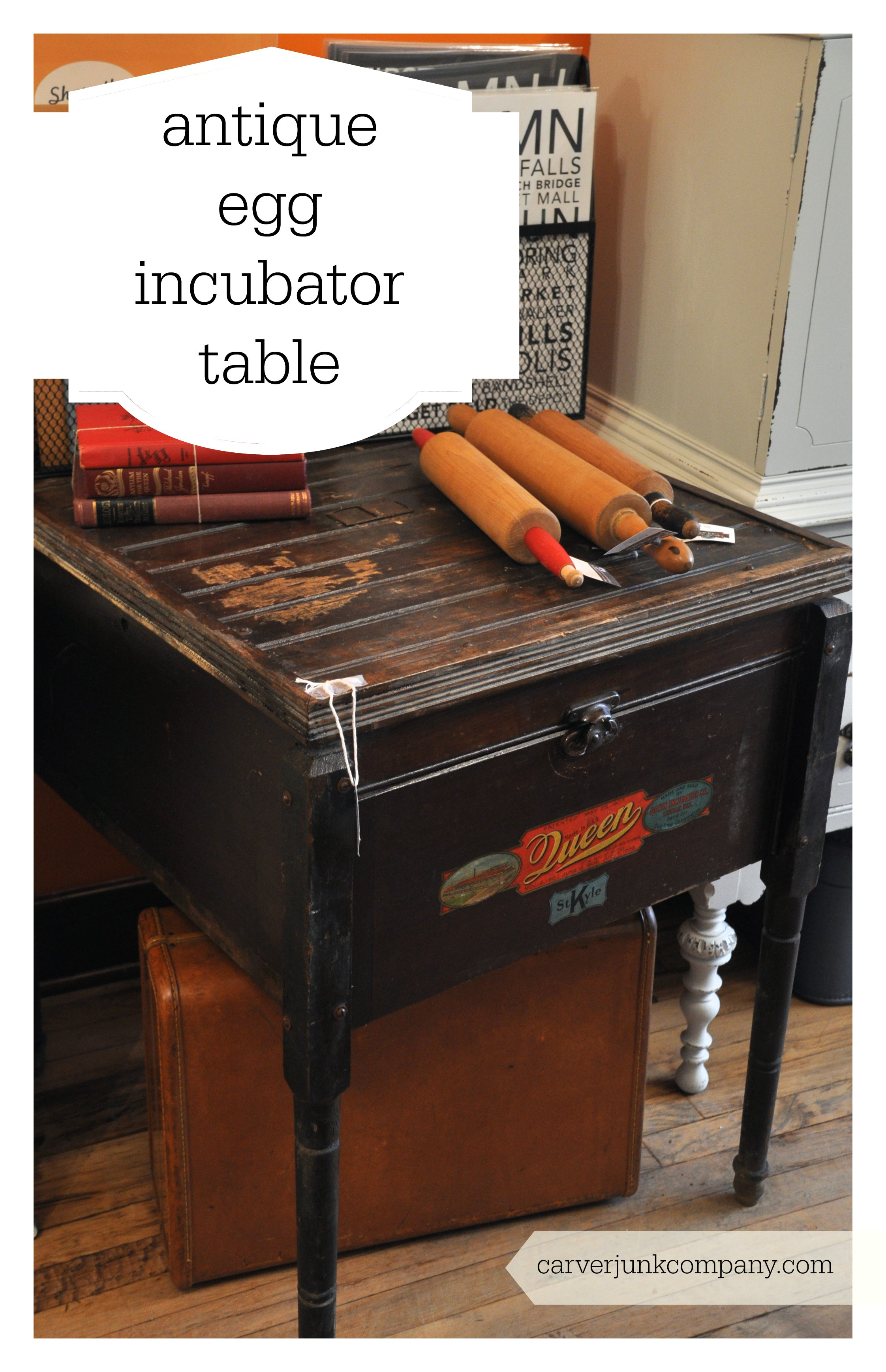 Antique Egg Incubator turned into a Table | Original Primitive | Carver Junk Company
