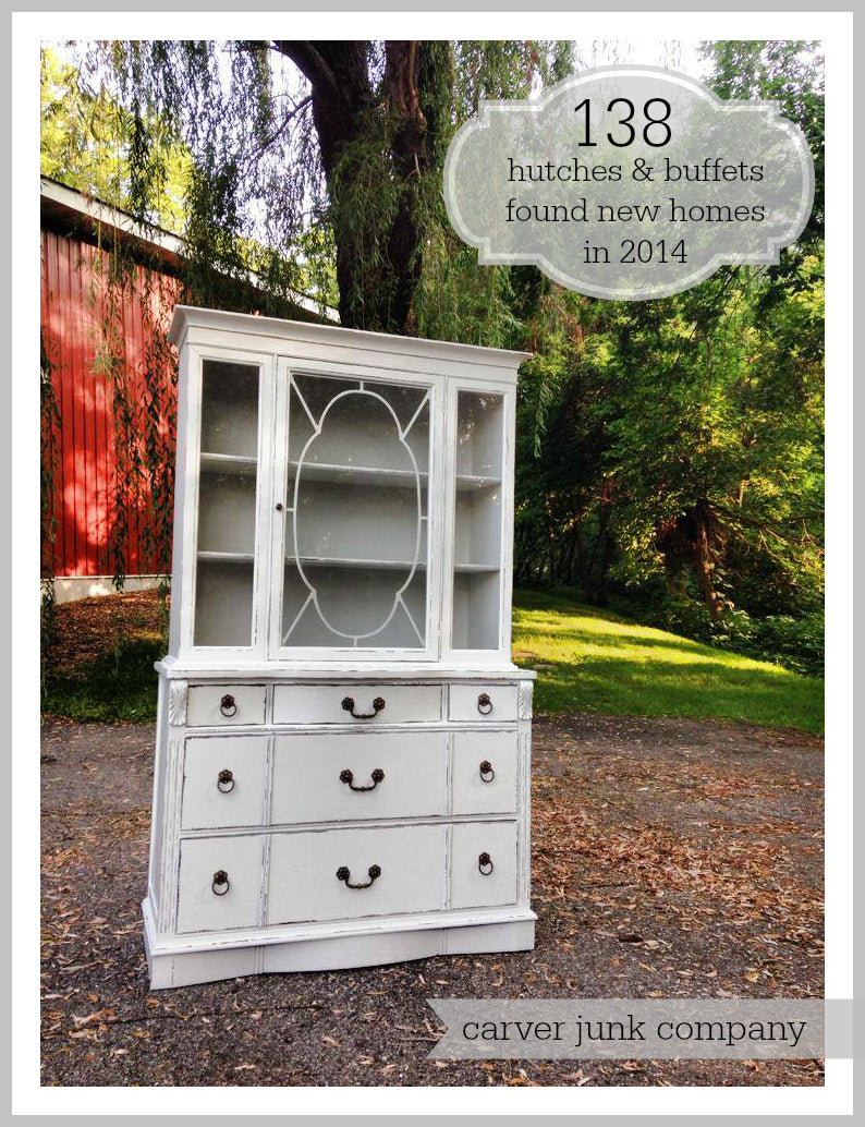 Carver Junk Company | 2014 Year in Review | Furniture | Painted Hutch Buffet | Repainted | Milk Paint | Chalk Paint | Lacquer Spray