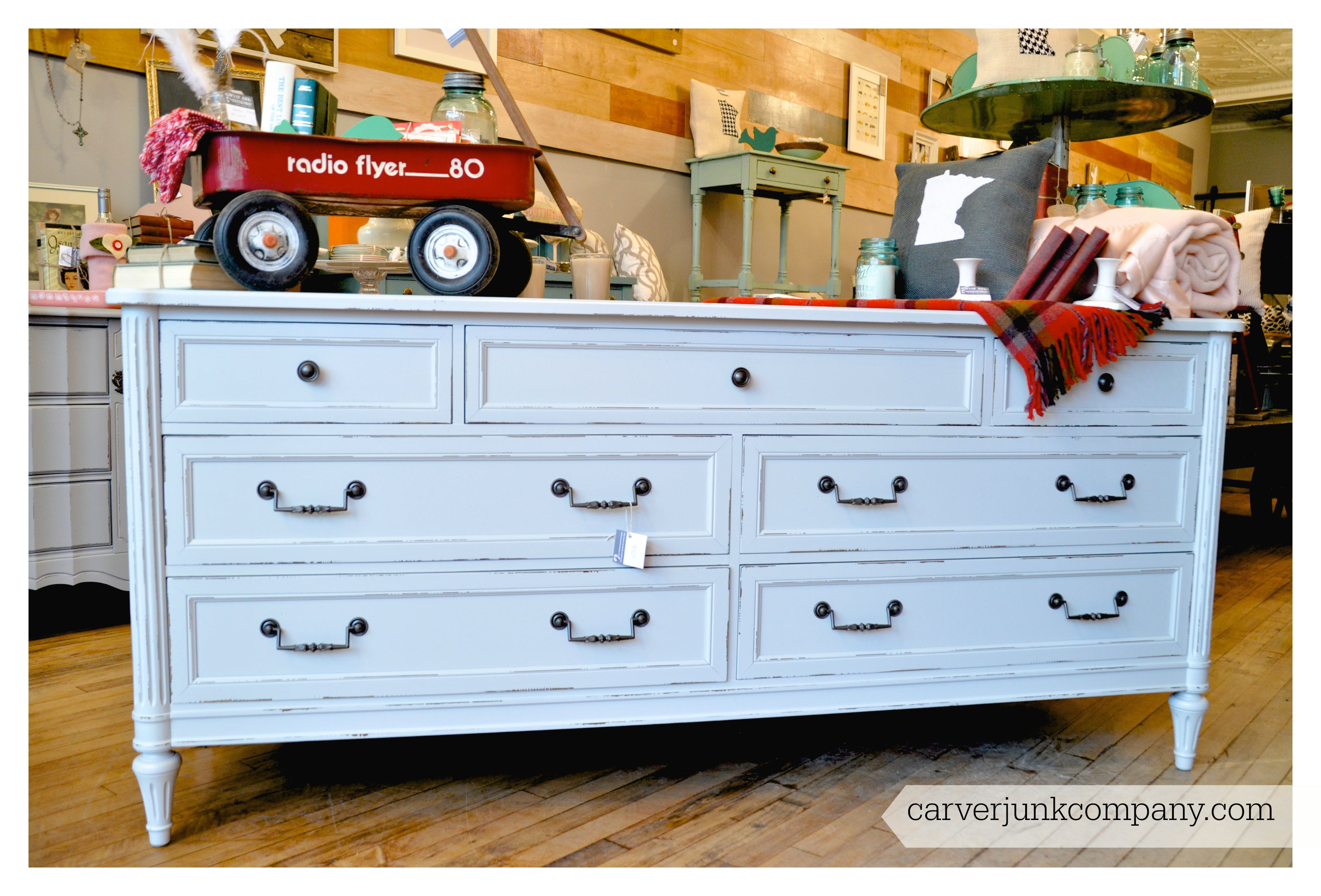 Vintage Repainted White Dresser | Hardware Update | Lacquer Spray Finish | Painted Furniture | Carver Junk Company