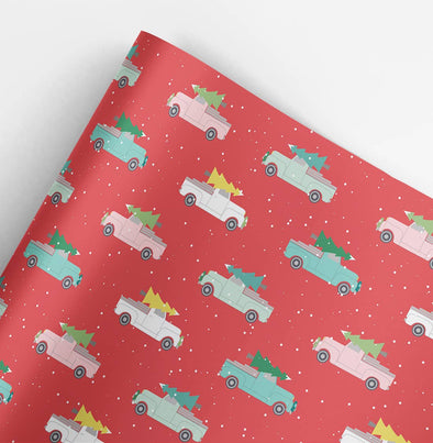 Holiday Trucks Christmas Gift Wrap Roll 3 sheets/roll