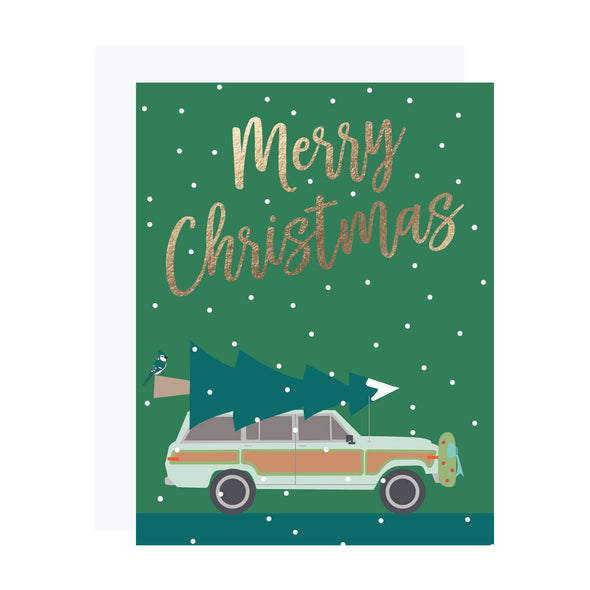 Woody Wagon Foil Christmas Card (Box of 6)