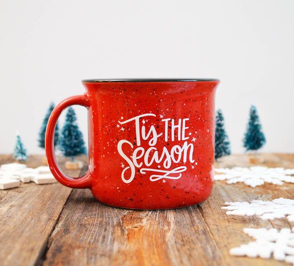 Christmas Holiday mug, Tis the Season, Red campfire mug
