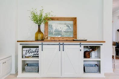 Hand Built Barn Door Console (Customizable)