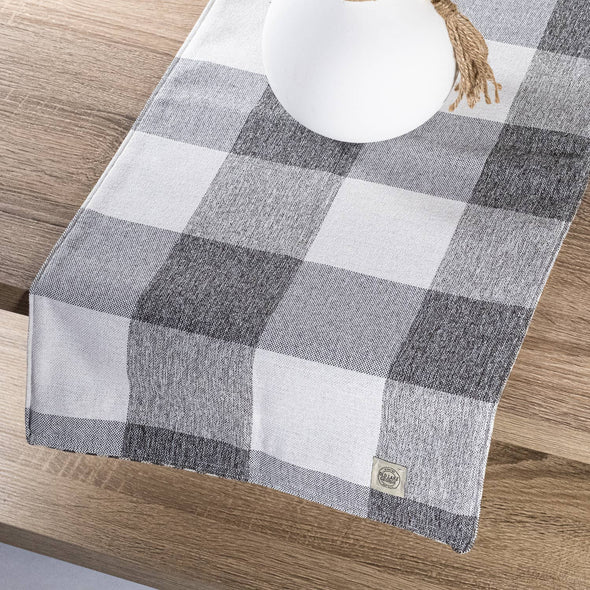 Gray White Buffalo Check Plaid Table runner Tablecloth