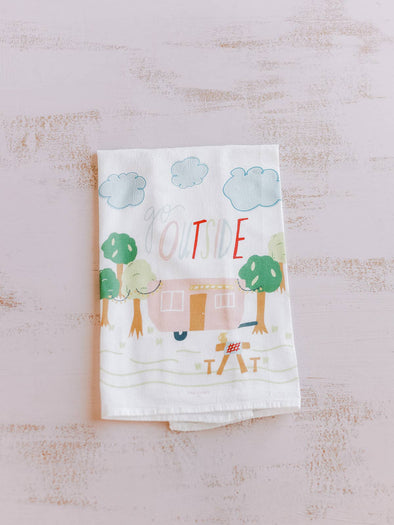 Go Outside Flour Sack Kitchen Towel