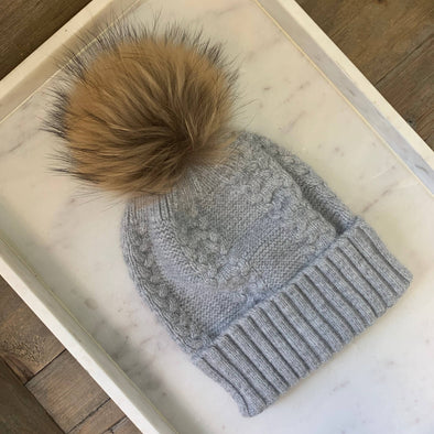 Soft Angora Cable Knit Fur Pom Beanie