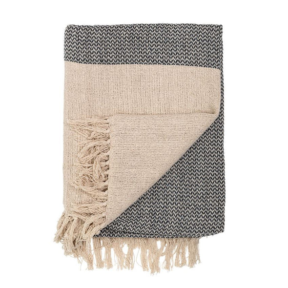 Cream & Black Knit Cotton Large Throw with Fringe
