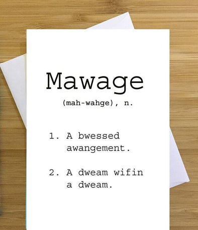 Mawage Greeting Card