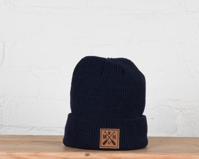 Navy MN Patch Knit Beanie