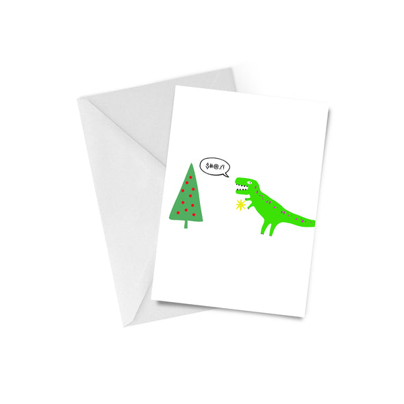 T Rex Christmas Tree Greeting Card