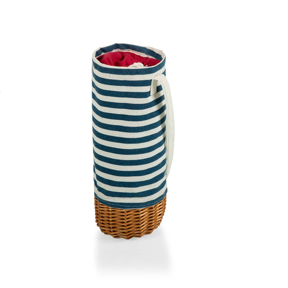 Insulated Canvas & Willow Wine Basket: Blue Stripe
