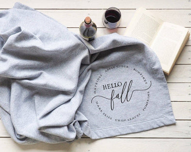 Hello Fall Sweatshirt Blanket