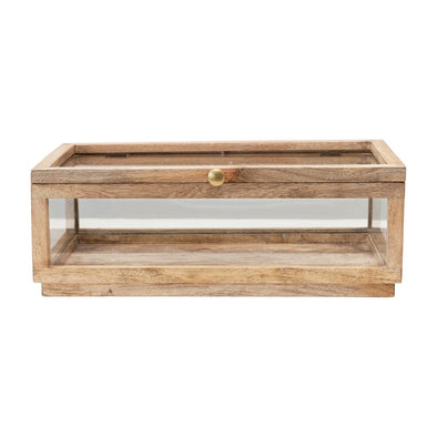 Mango Wood & Glass Display Box w/ Lid