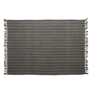 Blue & Grey Striped Brushed Cotton Throw