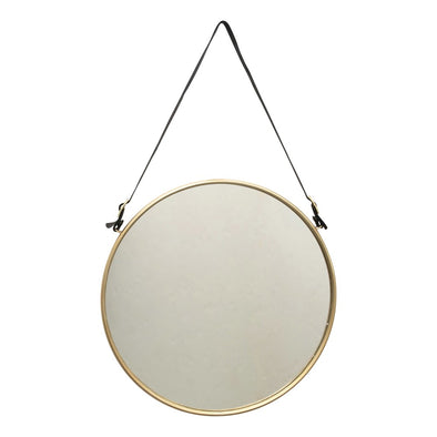 Round Metal Hanging Wall Mirror w/ Buckle Strap