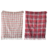 Plaid Cotton Woven Throw w Fringe