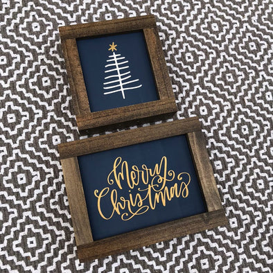 Merry Christmas Mini Handpainted Sign